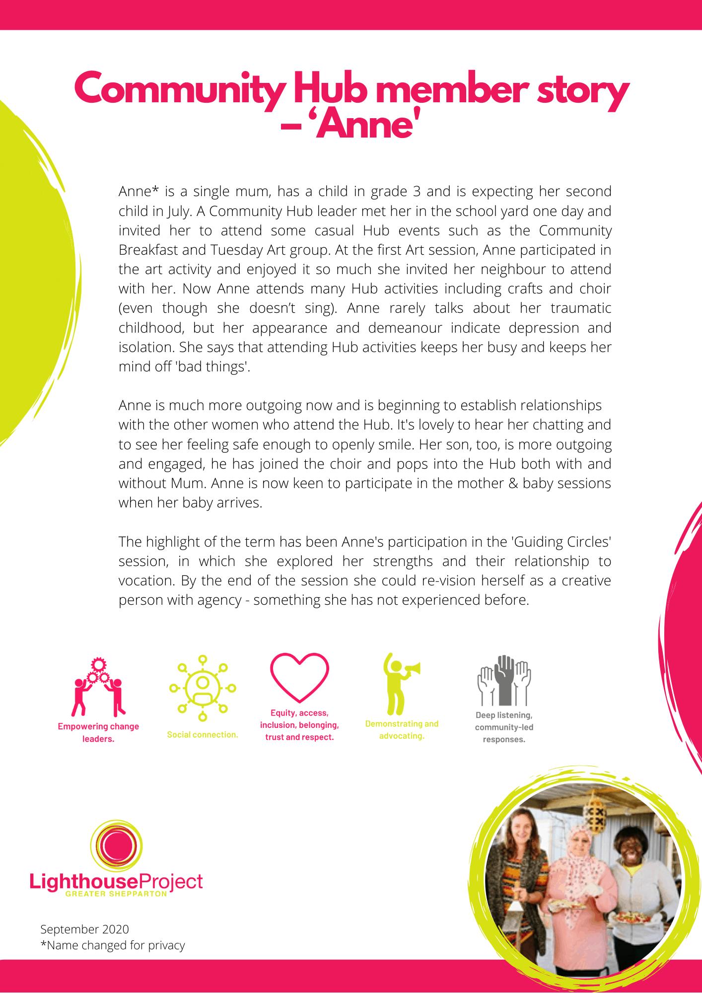 Community Hub Stories of Change Anne image